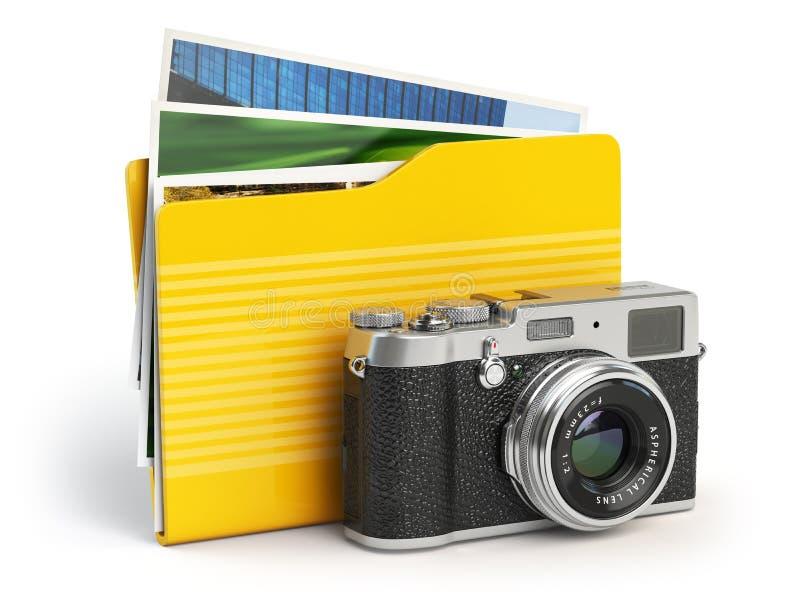 Icono de la carpeta de la PC del álbum de foto Cámara y carpeta de la foto encendido stock de ilustración