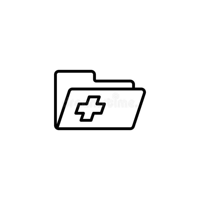 Icono de la carpeta del expediente de historia de paciente médico ilustración del vector