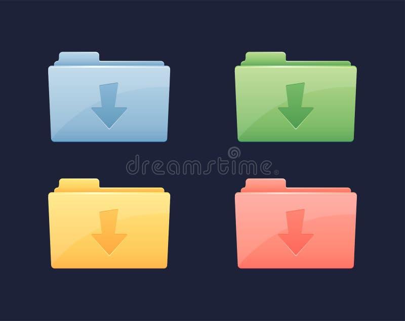 Icono de la carpeta del vector de datos de la transferencia directa Carpeta con la flecha de la transferencia directa libre illustration