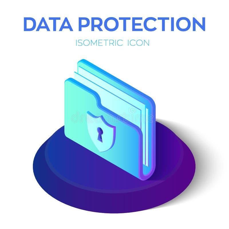 Icono de la carpeta muestra bloqueada isométrica de la carpeta 3D Concepto de la protección de datos Asegure los datos Blindaje d libre illustration
