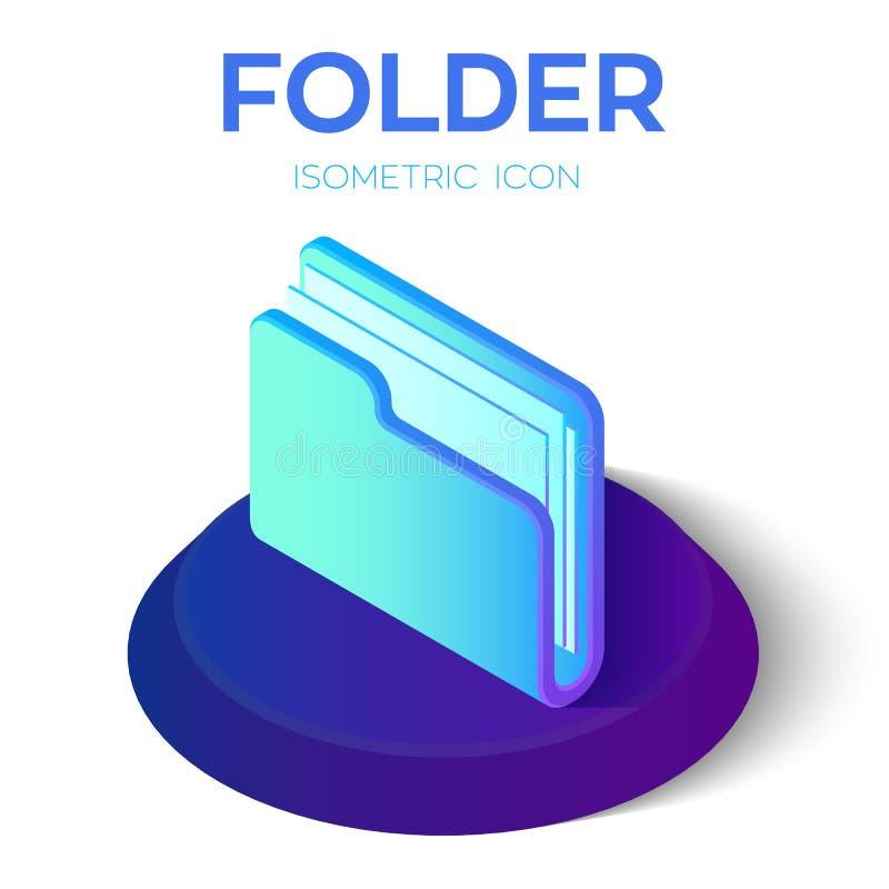 Icono de la carpeta muestra isométrica de la carpeta 3D Creado para el móvil, web, decoración, productos de la impresión, uso Per stock de ilustración