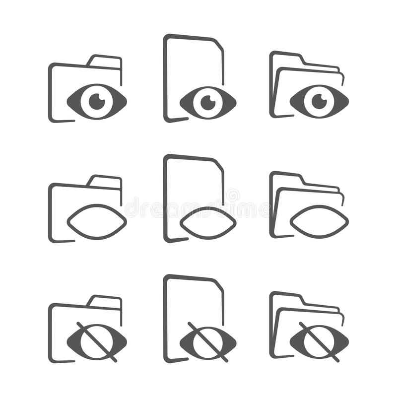 Icono de la carpeta y del ojo carpeta ocultada ilustración del vector