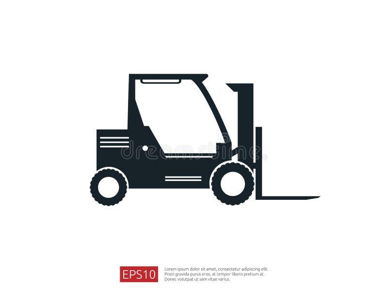 Icono de la carretilla elevadora ejemplo del vector del cargador de la bifurcación del almacén símbolo del camión de reparto para libre illustration