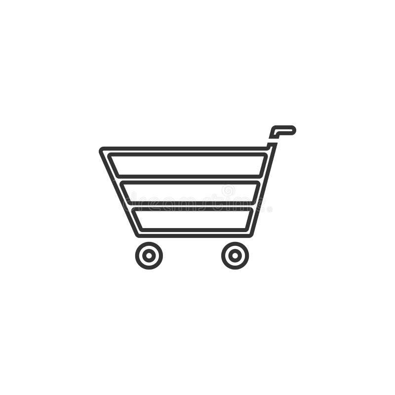 Icono de la carretilla de las compras El elemento del navegador firma para los apps móviles del concepto y del web Línea fina ico stock de ilustración