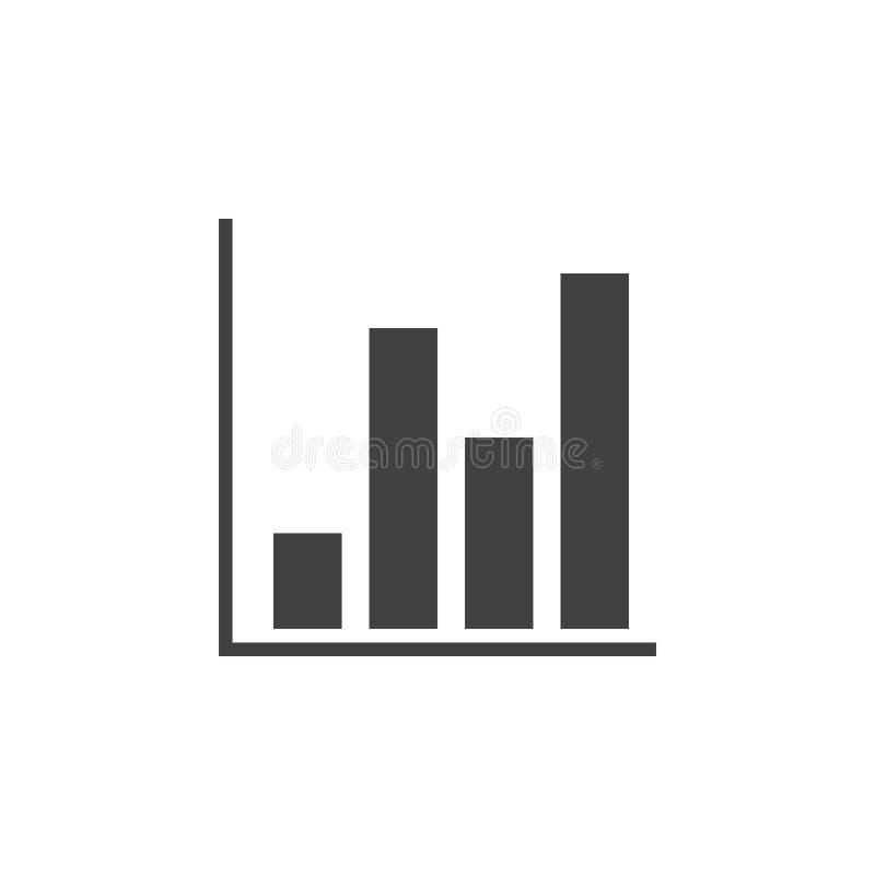 Icono de la carta de barra, ejemplo sólido del logotipo, isolat del pictograma stock de ilustración