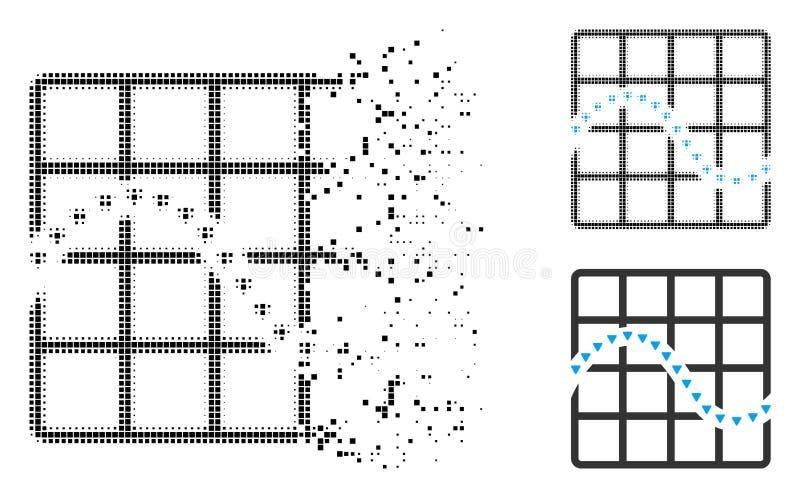 Icono de la carta de la función punteada del tono medio del pixel del polvo ilustración del vector