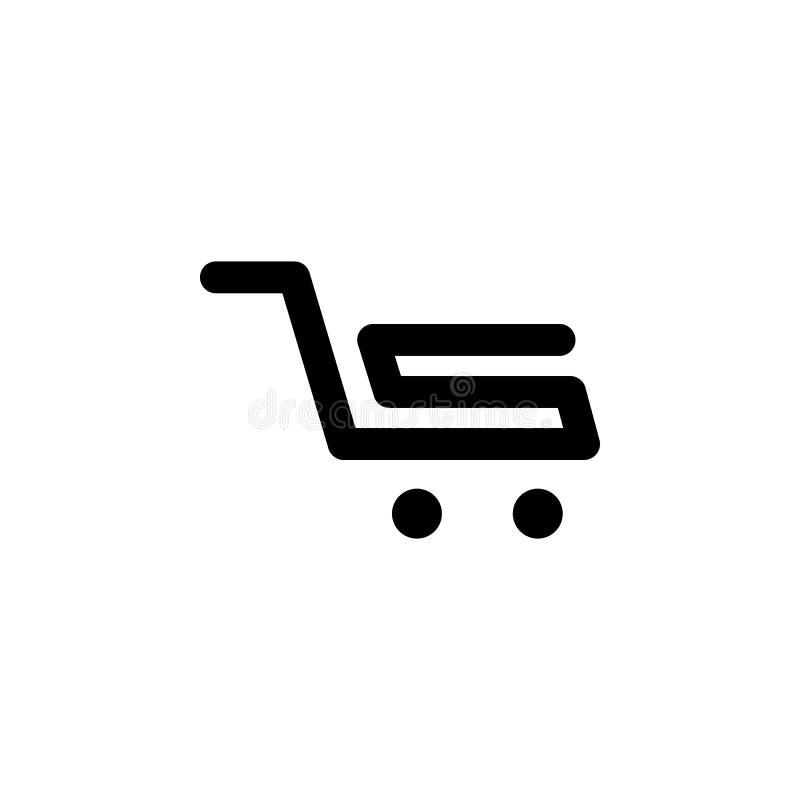 Icono de la carta de las compras de la forma de S stock de ilustración