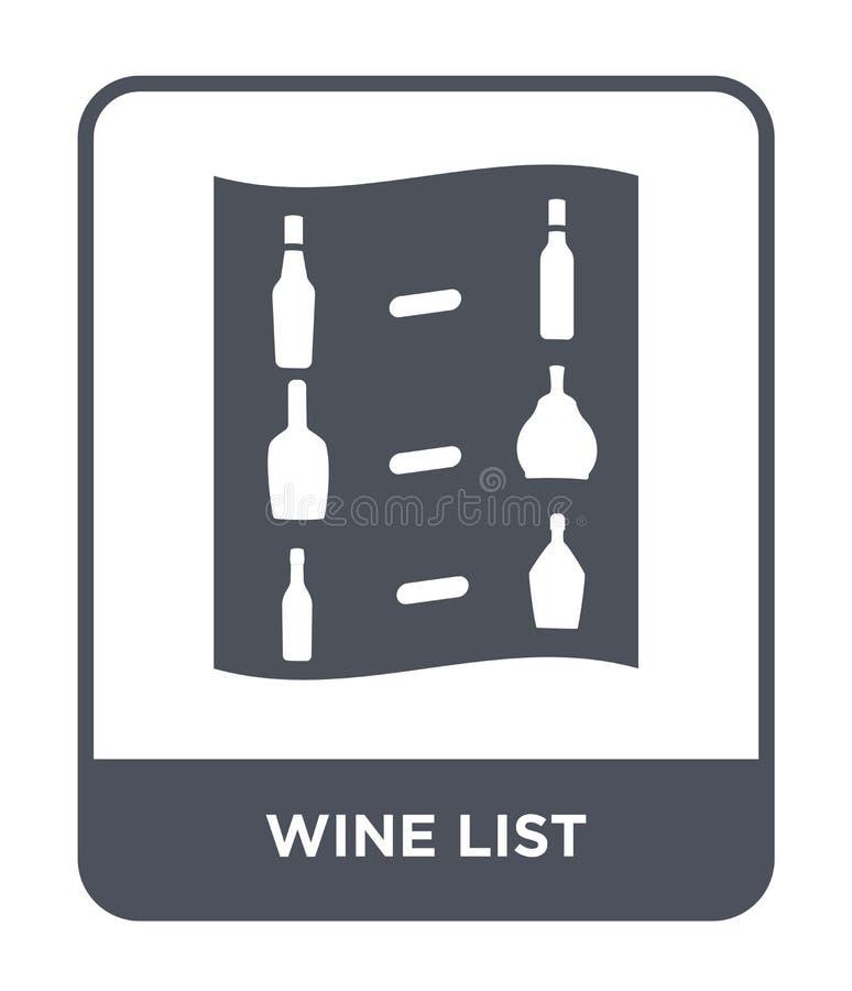 icono de la carta de vinos en estilo de moda del diseño icono de la carta de vinos aislado en el fondo blanco plano simple y mode libre illustration