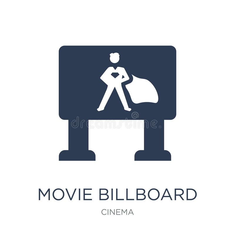 Icono de la cartelera de la película Icono plano de moda de la cartelera de la película del vector encendido stock de ilustración