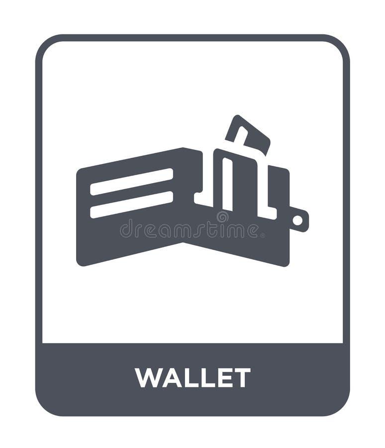 icono de la cartera en estilo de moda del diseño Icono de la cartera aislado en el fondo blanco símbolo plano simple y moderno de stock de ilustración