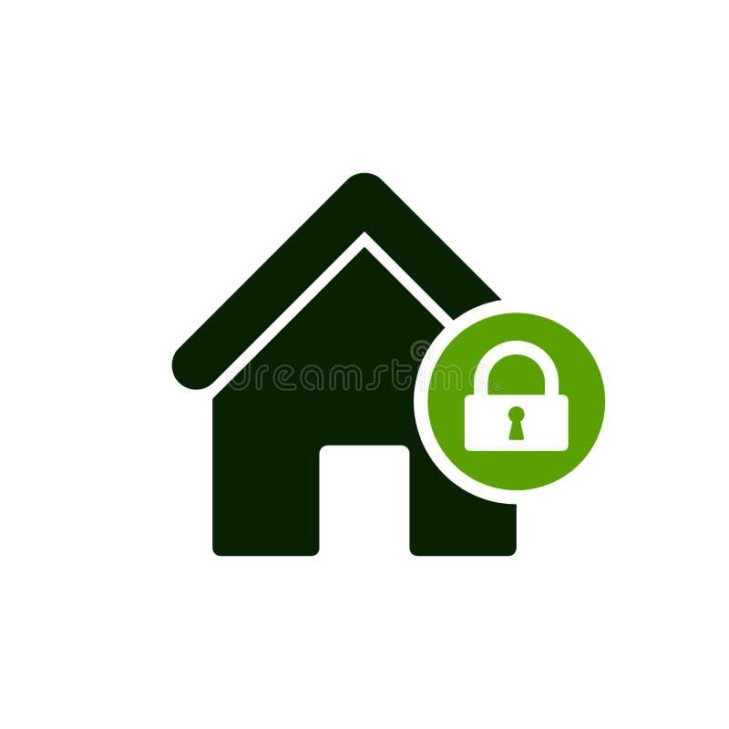 Icono de la casa con la muestra del candado Contenga el icono y la seguridad, protección, símbolo de la privacidad libre illustration