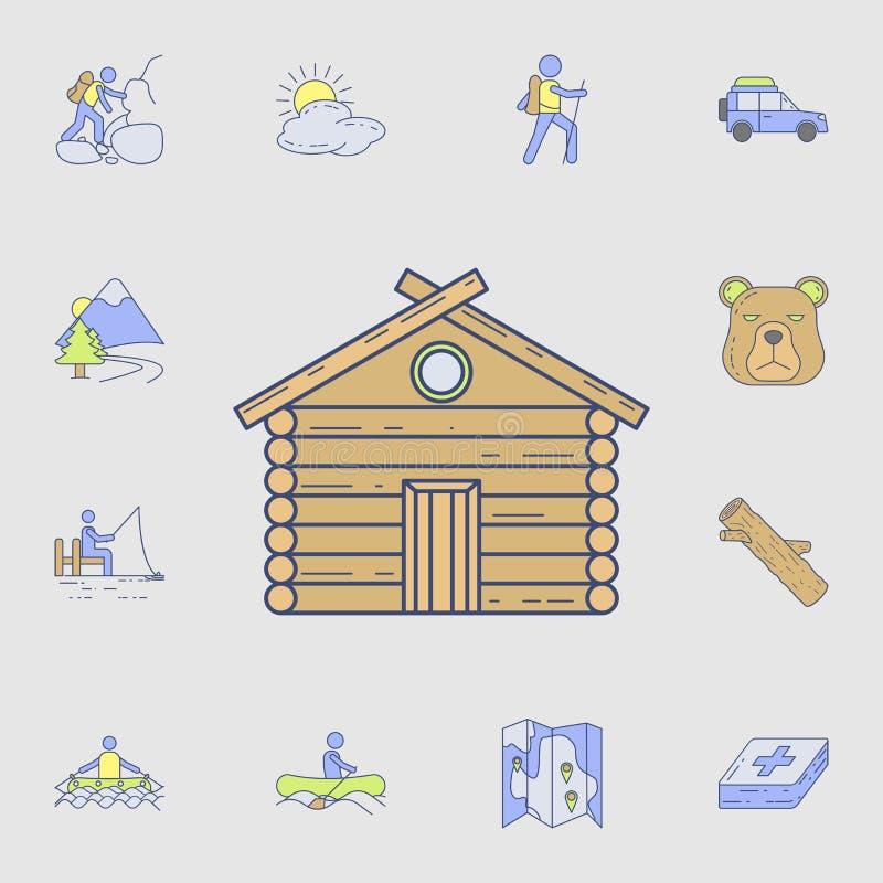 icono de la casa del bosque Sistema detallado de iconos de la herramienta del color que acampan Diseño gráfico superior Uno de lo libre illustration