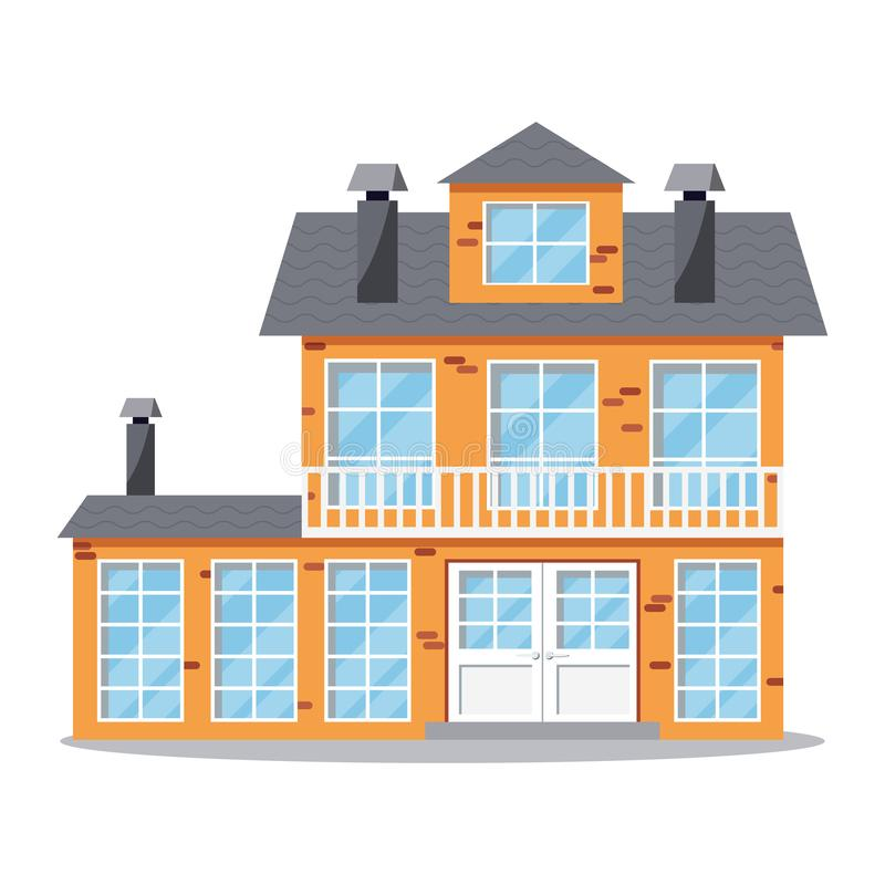 Icono de la casa dos-famosa de la cabaña de la granja del ladrillo con el balcón, chimenea stock de ilustración