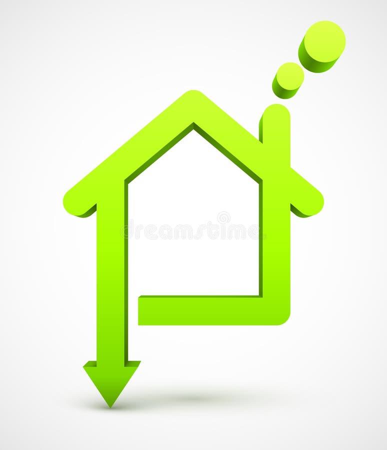 Icono de la casa verde stock de ilustración