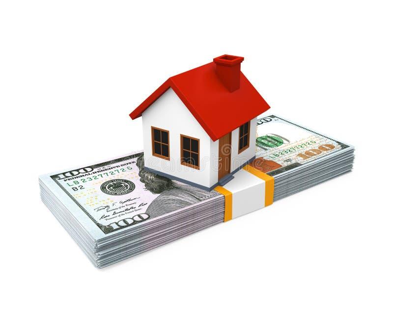 Icono de la casa y pilas de billetes de dólar ilustración del vector