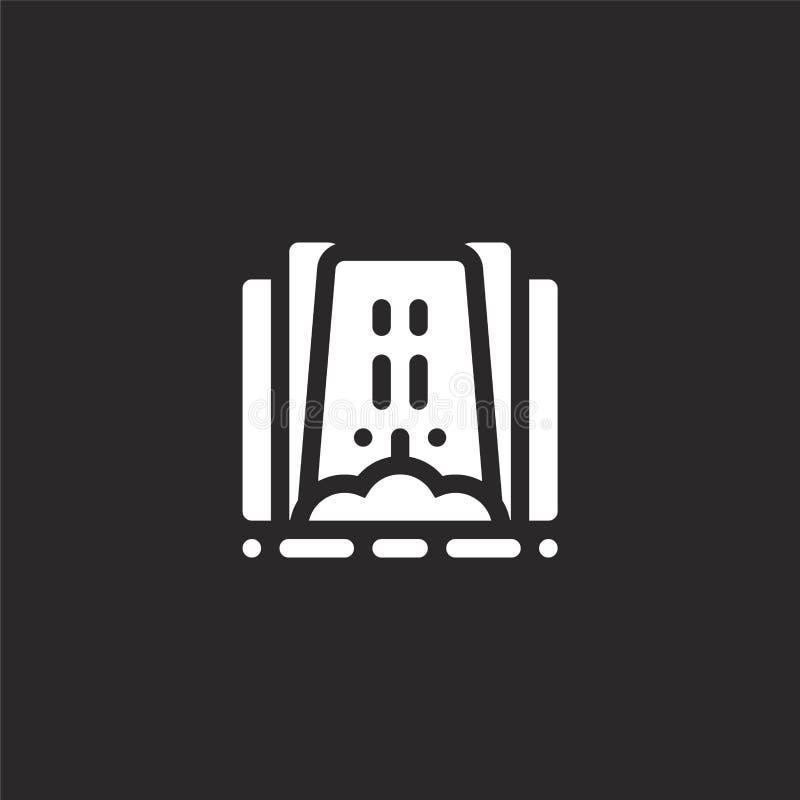 Icono de la cascada Icono llenado de la cascada para el diseño y el móvil, desarrollo de la página web del app icono de la cascad stock de ilustración