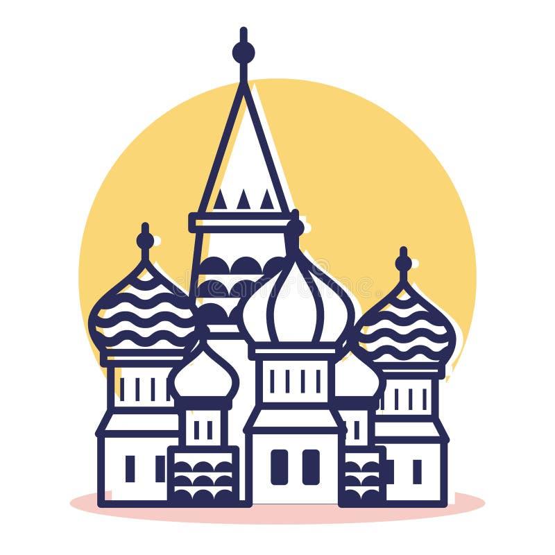 Icono de la catedral de las albahacas del St - viaje y destino ilustración del vector