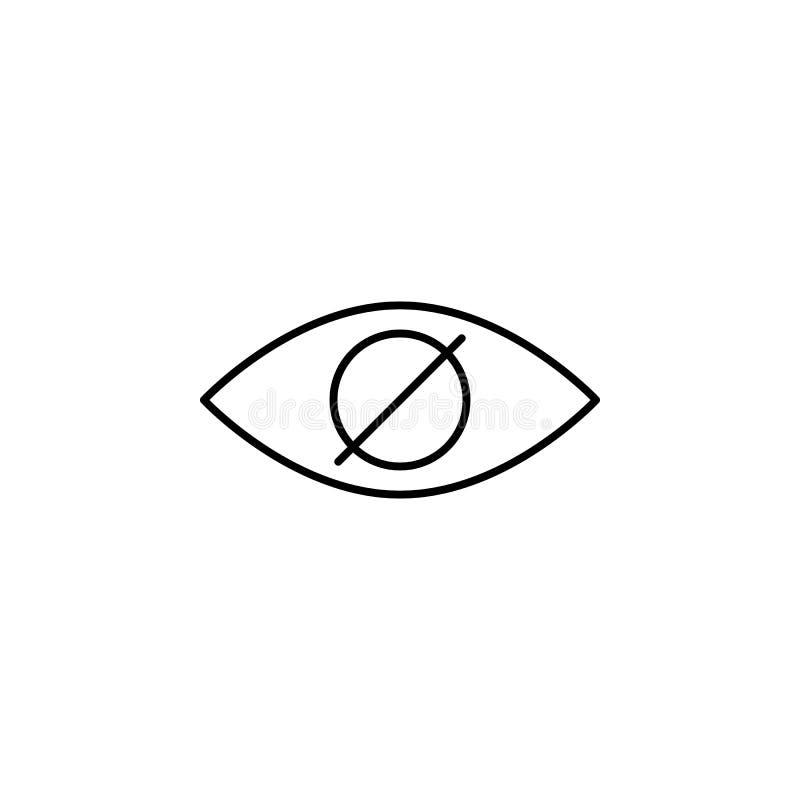 icono de la ceguera Elemento del icono del cuidado del ojo para los apps móviles del concepto y de la web El icono fino de la ceg libre illustration