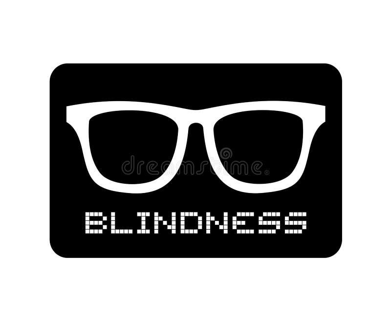 Icono de la ceguera de los vidrios stock de ilustración