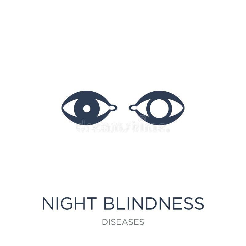 Icono de la ceguera de noche Icono plano de moda de la ceguera de noche del vector encendido libre illustration