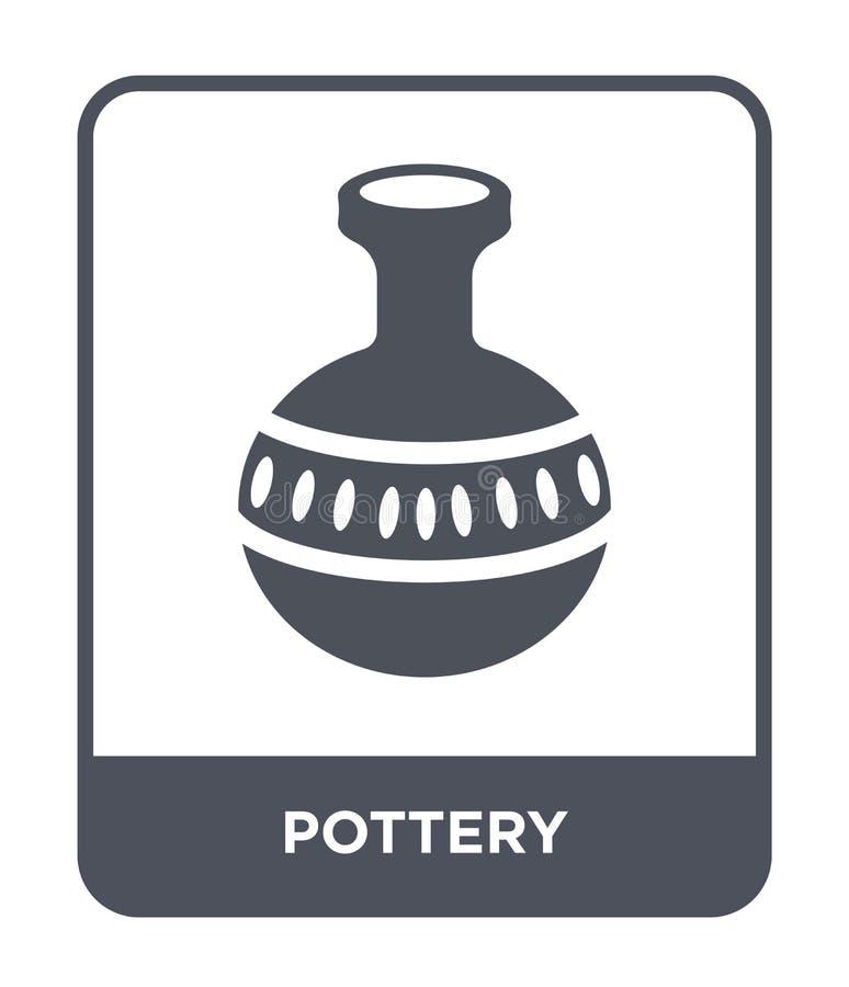 icono de la cerámica en estilo de moda del diseño icono de la cerámica aislado en el fondo blanco símbolo plano simple y moderno  stock de ilustración