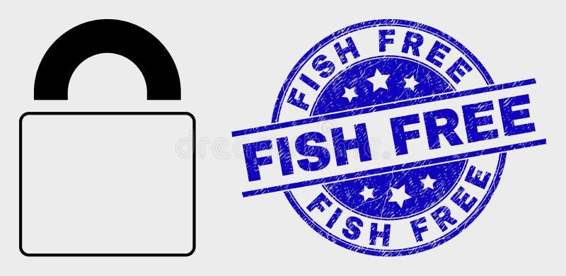 Icono de la cerradura del contorno del vector y sello libre rasguñado de los pescados stock de ilustración