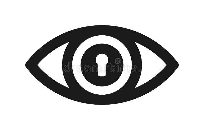 Icono de la cerradura del ojo stock de ilustración