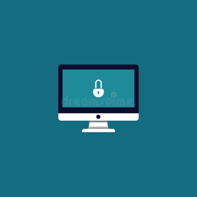 icono de la cerradura en monitor de la pantalla seguridad del símbolo del vector foto de archivo