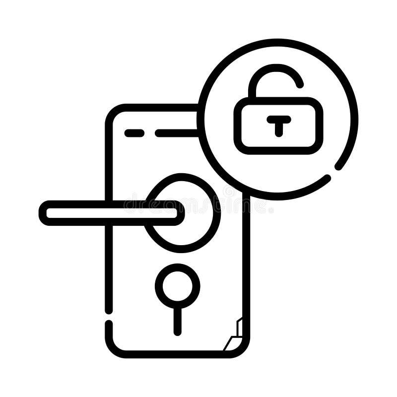 Icono de la cerradura de puerta ilustración del vector