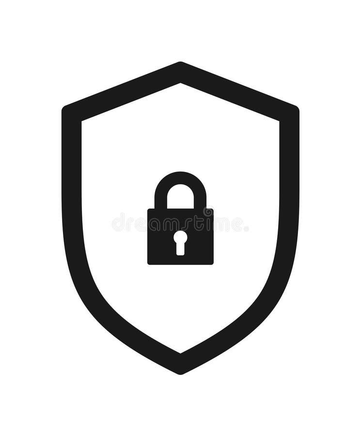 Icono de la cerradura de la seguridad del escudo ilustración del vector