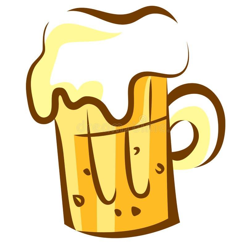 Icono de la cerveza Vidrio de cerveza con espuma Ejemplo del estilo de la historieta del arte pop aislado en blanco stock de ilustración
