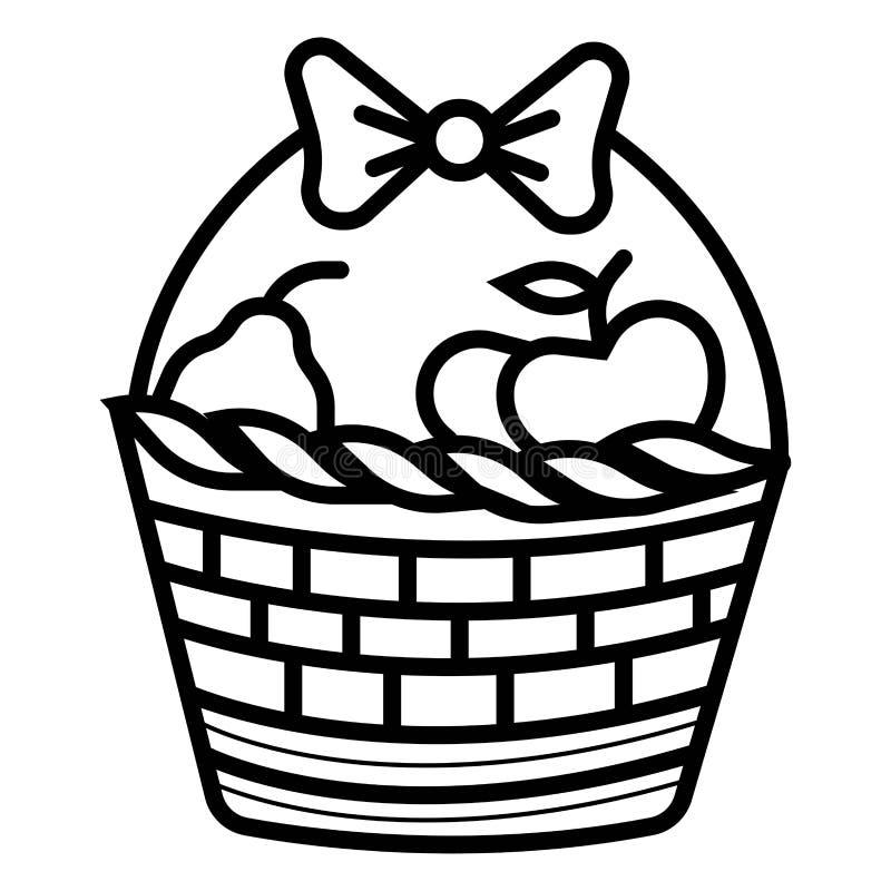 Icono de la cesta con la sombra y otros iconos de la comida campestre ilustración del vector