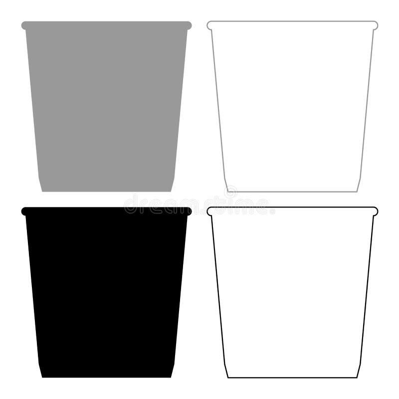 Icono de la cesta del cubo de basura o de la basura Color gris y negro del ejemplo stock de ilustración