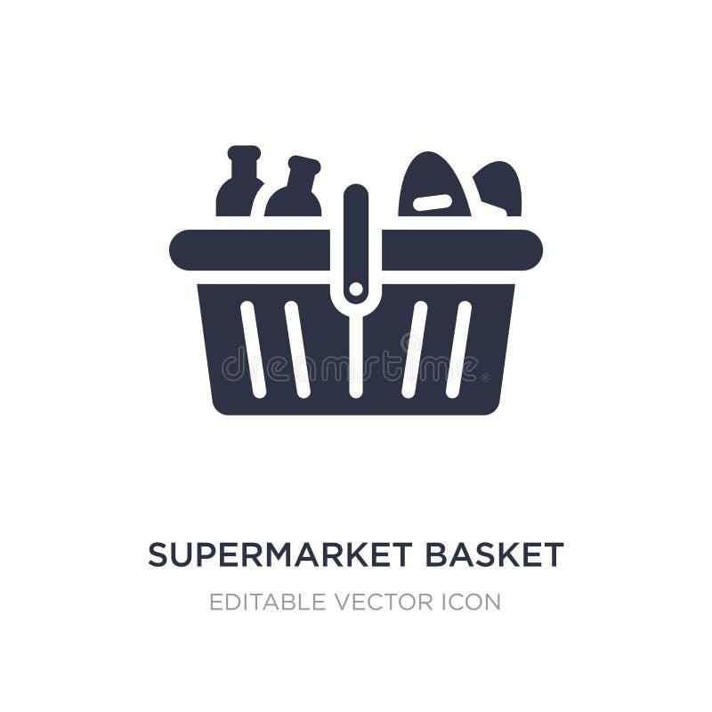 icono de la cesta del supermercado en el fondo blanco Ejemplo simple del elemento del concepto del comercio stock de ilustración