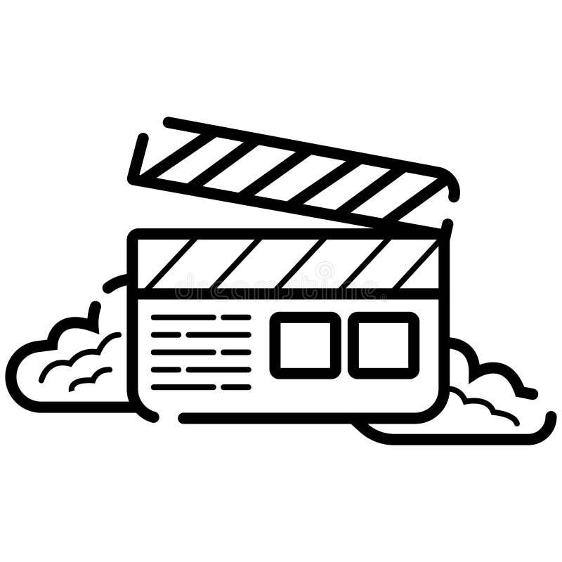 Icono de la chapaleta de la pel?cula, icono del vector del cine, icono video stock de ilustración