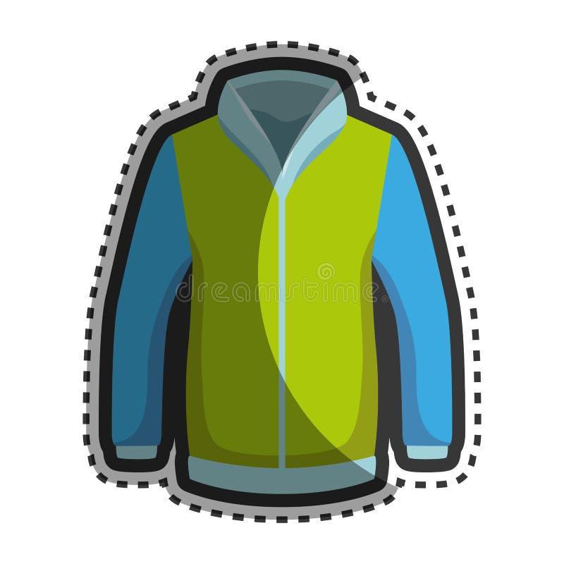 Icono de la chaqueta del invierno de la moda stock de ilustración