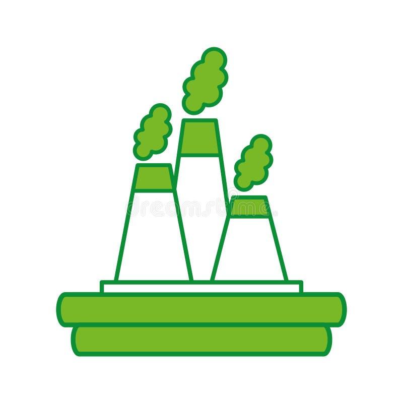 Icono de la chimenea de la industria de la fábrica ilustración del vector