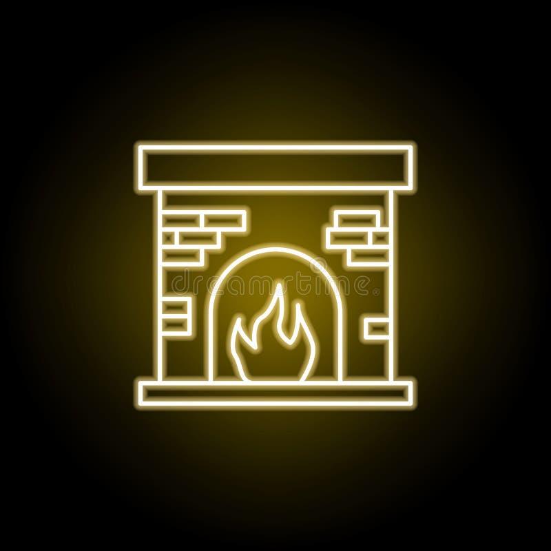 icono de la chimenea en el estilo de ne?n Las muestras y los s?mbolos se pueden utilizar para la web, logotipo, app m?vil, UI, UX ilustración del vector