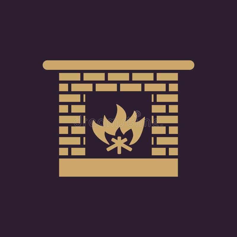 Icono de la chimenea Hogar y chimenea, fuego, repisa, símbolo del calor Diseño plano Acción - ejemplo del vector ilustración del vector
