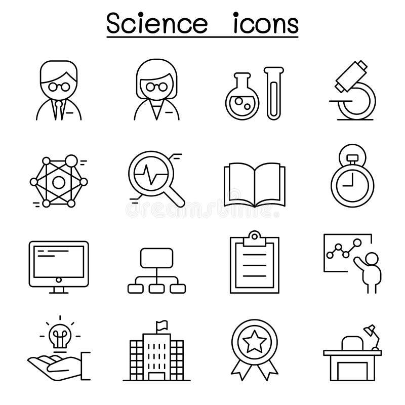Icono de la ciencia fijado en la línea estilo fina stock de ilustración