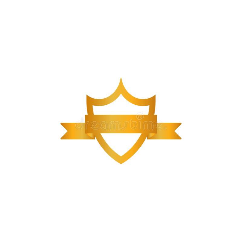 Icono de la cinta del emblema del escudo del oro Silueta de oro de la muestra, fondo blanco aislado Símbolo del trofeo, premio he stock de ilustración