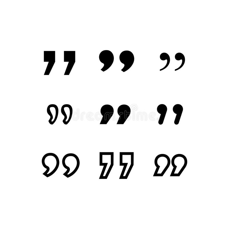 Icono de la cita S?mbolo del p?rrafo de la cita marca doble de la coma muestra del discurso del di?logo de la burbuja Vector stock de ilustración