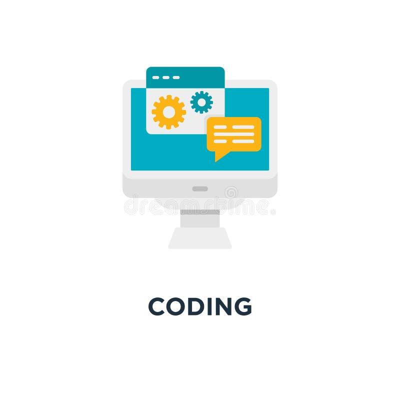 Icono de la codificación diseño del símbolo del concepto del desarrollo de programas, app internacional ilustración del vector