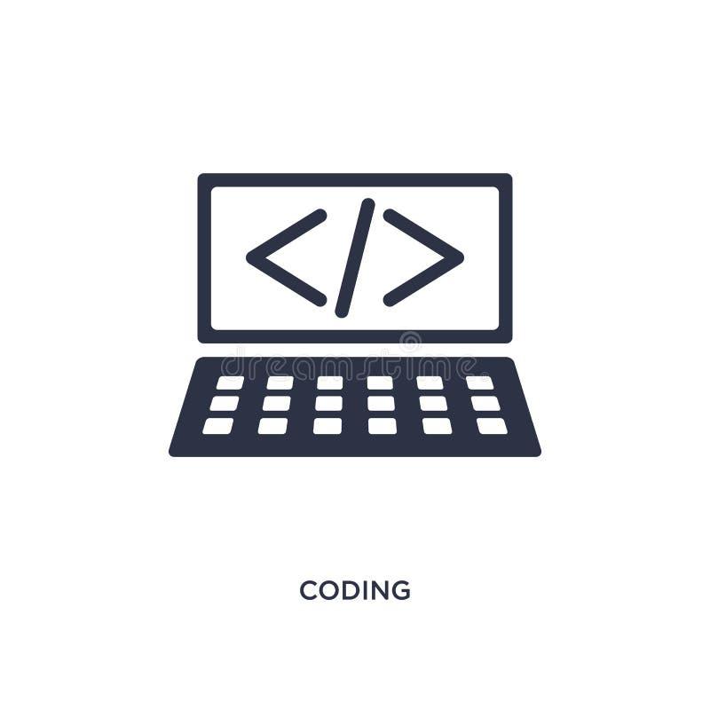 Icono de la codificación en el fondo blanco Ejemplo simple del elemento del concepto de la estrategia stock de ilustración