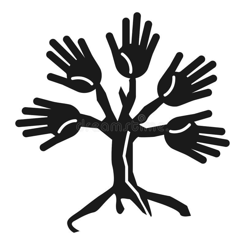 Icono de la cohesión de la gente del árbol, estilo simple stock de ilustración