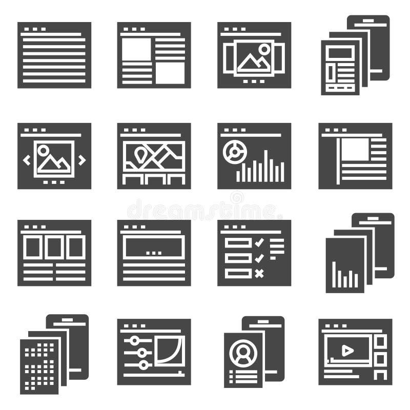 Icono de la colección del interfaz de las plantillas de la página del sitio web del vector stock de ilustración