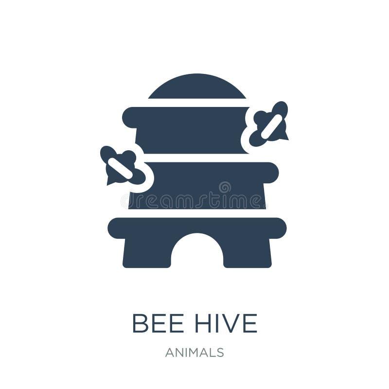 icono de la colmena de la abeja en estilo de moda del diseño Icono de la colmena de la abeja aislado en el fondo blanco plano sim ilustración del vector