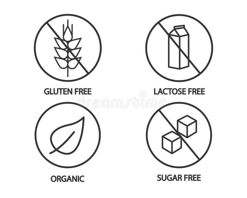 Icono de la comida - iconos libres del gluten libre, sin lactosa, orgánicos y del azúcar Ejemplo blanco y negro stock de ilustración