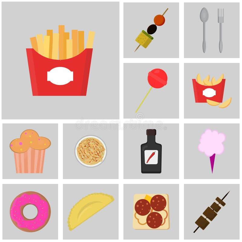Icono de la comida y de la bebida Alimentos de preparación rápida Iconos planos del color Fritadas del icono libre illustration