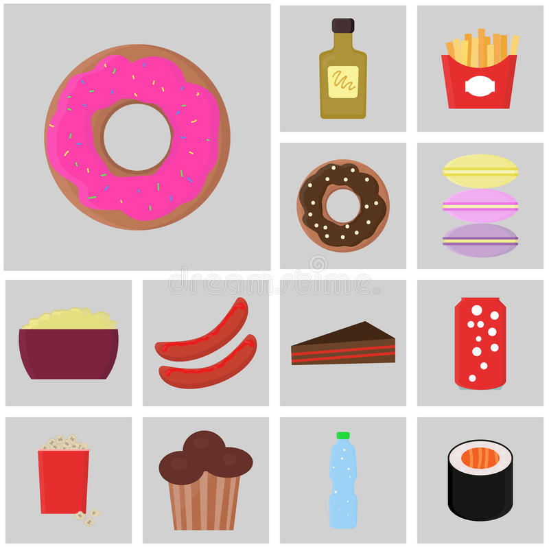 Icono de la comida y de la bebida Vector de los alimentos de preparación rápida Iconos planos del color Esmalte del buñuelo del i ilustración del vector